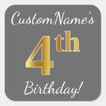 [ Thumbnail: Gray, Faux Gold 4th Birthday + Custom Name Sticker ]