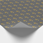 [ Thumbnail: Gray, Faux Gold 4th (Fourth) Event Wrapping Paper ]