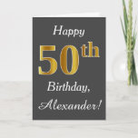 [ Thumbnail: Gray, Faux Gold 50th Birthday + Custom Name Card ]