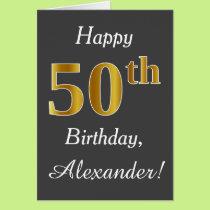 Gray, Faux Gold 50th Birthday   Custom Name Card