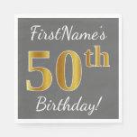 [ Thumbnail: Gray, Faux Gold 50th Birthday + Custom Name Paper Napkin ]