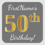 [ Thumbnail: Gray, Faux Gold 50th Birthday + Custom Name Sticker ]