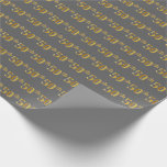 [ Thumbnail: Gray, Faux Gold 50th (Fiftieth) Event Wrapping Paper ]