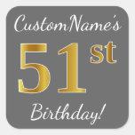 [ Thumbnail: Gray, Faux Gold 51st Birthday + Custom Name Sticker ]