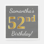[ Thumbnail: Gray, Faux Gold 52nd Birthday + Custom Name Napkin ]