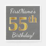 [ Thumbnail: Gray, Faux Gold 55th Birthday + Custom Name Paper Napkin ]
