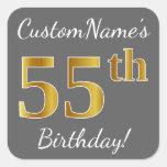 [ Thumbnail: Gray, Faux Gold 55th Birthday + Custom Name Sticker ]
