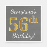 [ Thumbnail: Gray, Faux Gold 56th Birthday + Custom Name Napkin ]