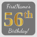 [ Thumbnail: Gray, Faux Gold 56th Birthday + Custom Name Sticker ]