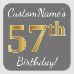 [ Thumbnail: Gray, Faux Gold 57th Birthday + Custom Name Sticker ]
