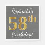 [ Thumbnail: Gray, Faux Gold 58th Birthday + Custom Name Napkin ]