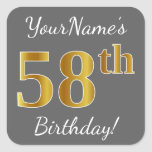 [ Thumbnail: Gray, Faux Gold 58th Birthday + Custom Name Sticker ]