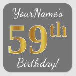 [ Thumbnail: Gray, Faux Gold 59th Birthday + Custom Name Sticker ]