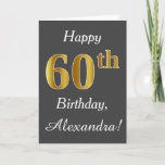 [ Thumbnail: Gray, Faux Gold 60th Birthday + Custom Name Card ]