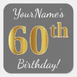 [ Thumbnail: Gray, Faux Gold 60th Birthday + Custom Name Sticker ]