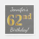 [ Thumbnail: Gray, Faux Gold 62nd Birthday + Custom Name Napkin ]