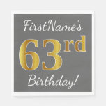 [ Thumbnail: Gray, Faux Gold 63rd Birthday + Custom Name Napkin ]