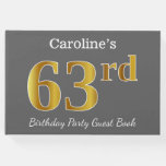 [ Thumbnail: Gray, Faux Gold 63rd Birthday Party + Custom Name Guest Book ]
