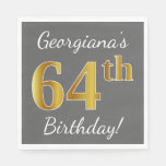 [ Thumbnail: Gray, Faux Gold 64th Birthday + Custom Name Napkin ]