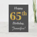 [ Thumbnail: Gray, Faux Gold 65th Birthday + Custom Name Card ]