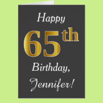 Gray, Faux Gold 65th Birthday   Custom Name Card