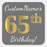 [ Thumbnail: Gray, Faux Gold 65th Birthday + Custom Name Sticker ]