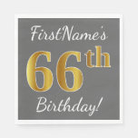 [ Thumbnail: Gray, Faux Gold 66th Birthday + Custom Name Napkin ]