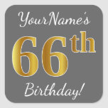 [ Thumbnail: Gray, Faux Gold 66th Birthday + Custom Name Sticker ]