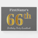 [ Thumbnail: Gray, Faux Gold 66th Birthday Party + Custom Name Guest Book ]