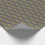 [ Thumbnail: Gray, Faux Gold 66th (Sixty-Sixth) Event Wrapping Paper ]