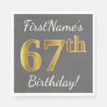 [ Thumbnail: Gray, Faux Gold 67th Birthday + Custom Name Paper Napkin ]
