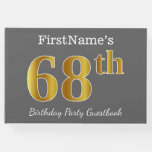 [ Thumbnail: Gray, Faux Gold 68th Birthday Party + Custom Name Guest Book ]