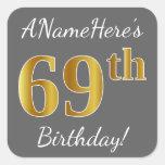 [ Thumbnail: Gray, Faux Gold 69th Birthday + Custom Name Sticker ]