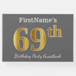 [ Thumbnail: Gray, Faux Gold 69th Birthday Party + Custom Name Guest Book ]