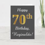[ Thumbnail: Gray, Faux Gold 70th Birthday + Custom Name Card ]