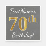 [ Thumbnail: Gray, Faux Gold 70th Birthday + Custom Name Paper Napkin ]