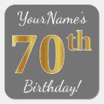 [ Thumbnail: Gray, Faux Gold 70th Birthday + Custom Name Sticker ]