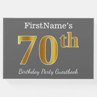 Gray, Faux Gold 70th Birthday Party + Custom Name Guest Book