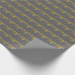 [ Thumbnail: Gray, Faux Gold 70th (Seventieth) Event Wrapping Paper ]