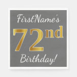 [ Thumbnail: Gray, Faux Gold 72nd Birthday + Custom Name Paper Napkin ]