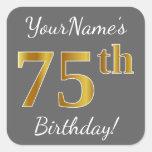 [ Thumbnail: Gray, Faux Gold 75th Birthday + Custom Name Sticker ]