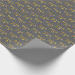 [ Thumbnail: Gray, Faux Gold 75th (Seventy-Fifth) Event Wrapping Paper ]