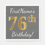 [ Thumbnail: Gray, Faux Gold 76th Birthday + Custom Name Napkin ]