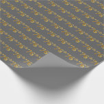 [ Thumbnail: Gray, Faux Gold 76th (Seventy-Sixth) Event Wrapping Paper ]