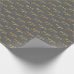 [ Thumbnail: Gray, Faux Gold 77th (Seventy-Seventh) Event Wrapping Paper ]