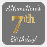 [ Thumbnail: Gray, Faux Gold 7th Birthday + Custom Name Sticker ]