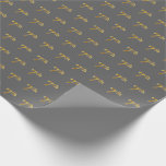 [ Thumbnail: Gray, Faux Gold 7th (Seventh) Event Wrapping Paper ]