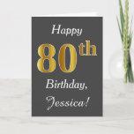 [ Thumbnail: Gray, Faux Gold 80th Birthday + Custom Name Card ]