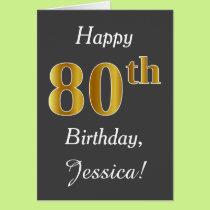 Gray, Faux Gold 80th Birthday   Custom Name Card