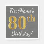 [ Thumbnail: Gray, Faux Gold 80th Birthday + Custom Name Napkin ]